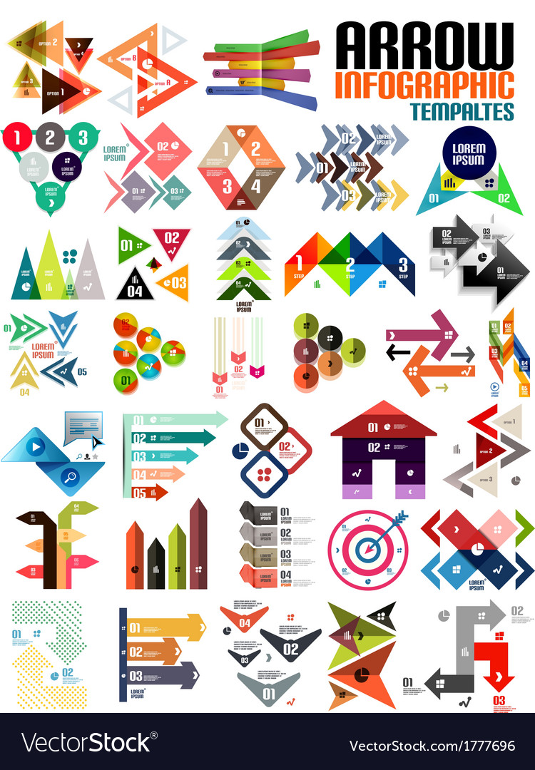 Set of geometric shape arrow info templates vector | Price: 1 Credit (USD $1)