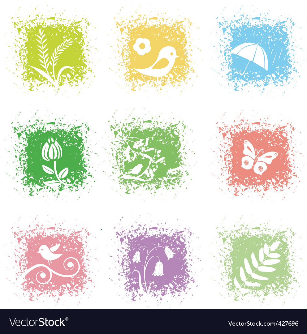 Set spring leaves icons vector | Price: 1 Credit (USD $1)