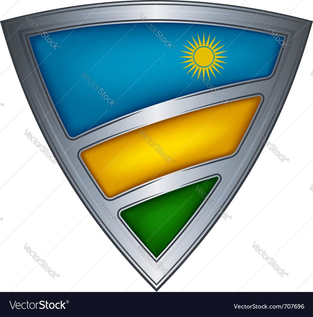 Steel shield with flag rwanda vector | Price: 1 Credit (USD $1)