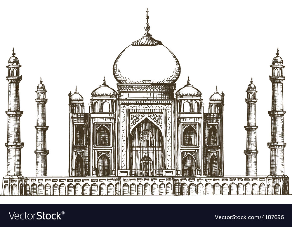 Taj mahal logo design template india or vector | Price: 3 Credit (USD $3)