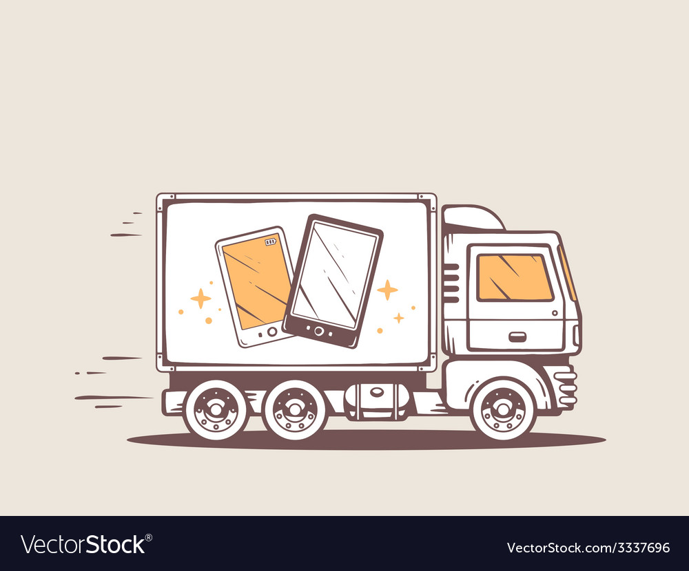 Truck free and fast delivering black and vector | Price: 3 Credit (USD $3)