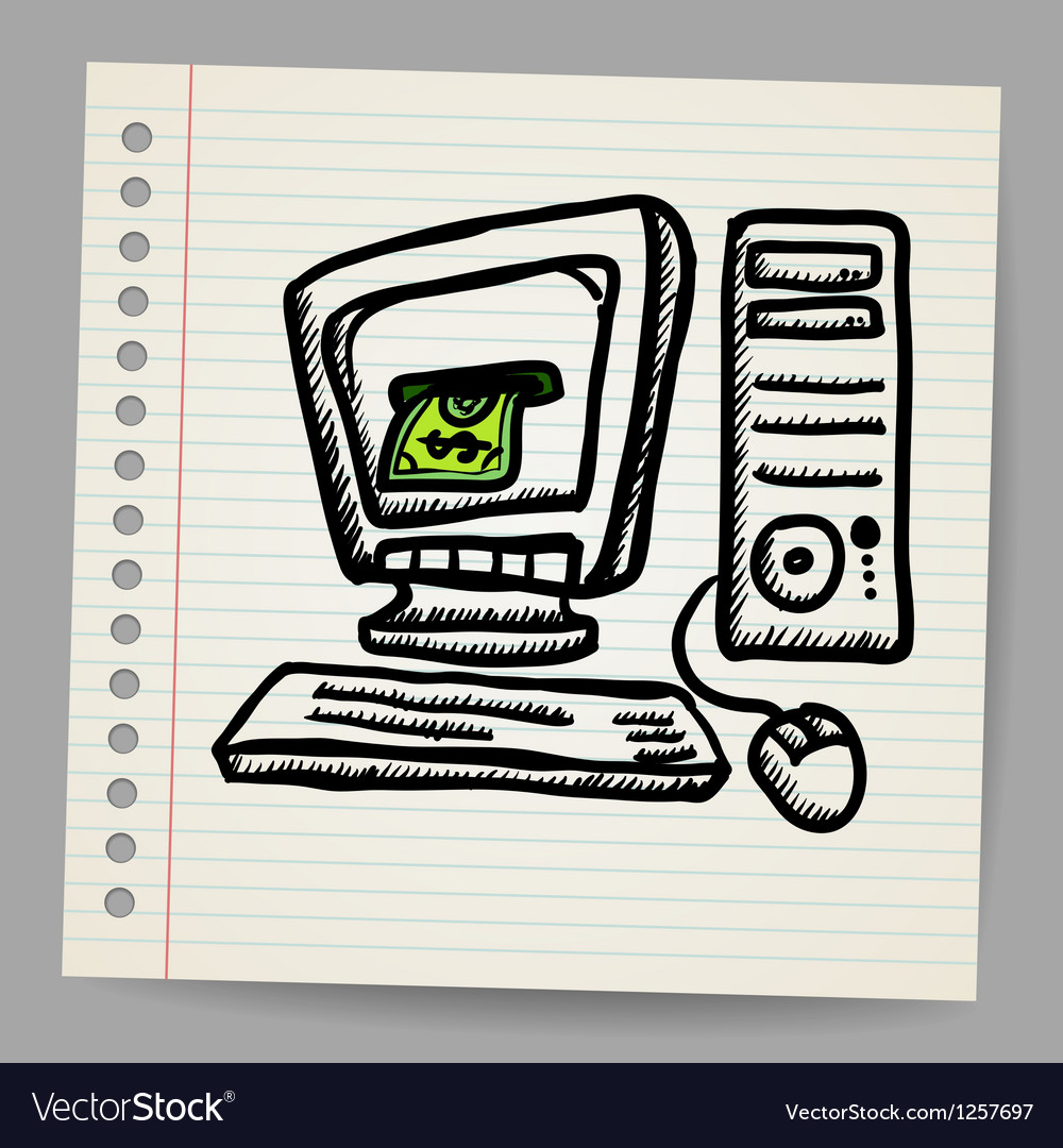 Doodle computer with money inside screen vector | Price: 1 Credit (USD $1)