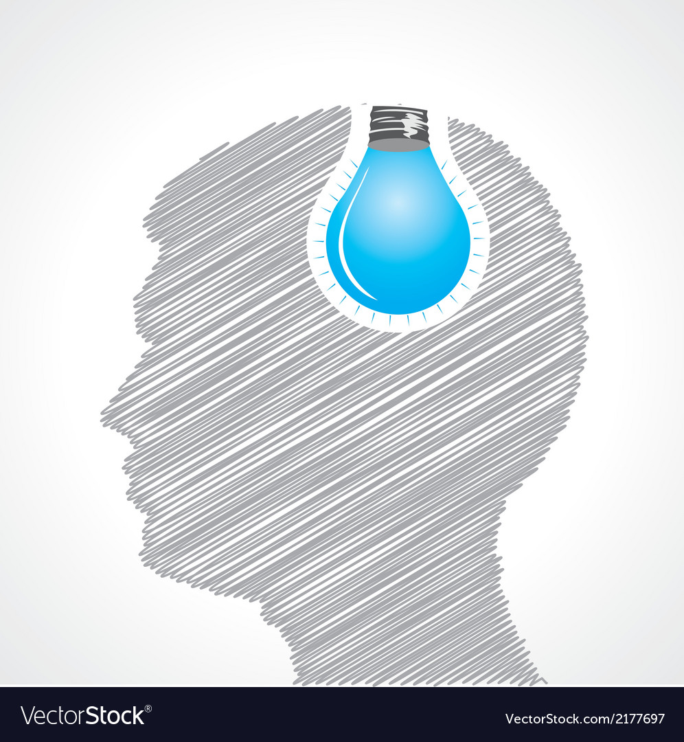 Hand drawn man s face with bulb in his head vector | Price: 1 Credit (USD $1)
