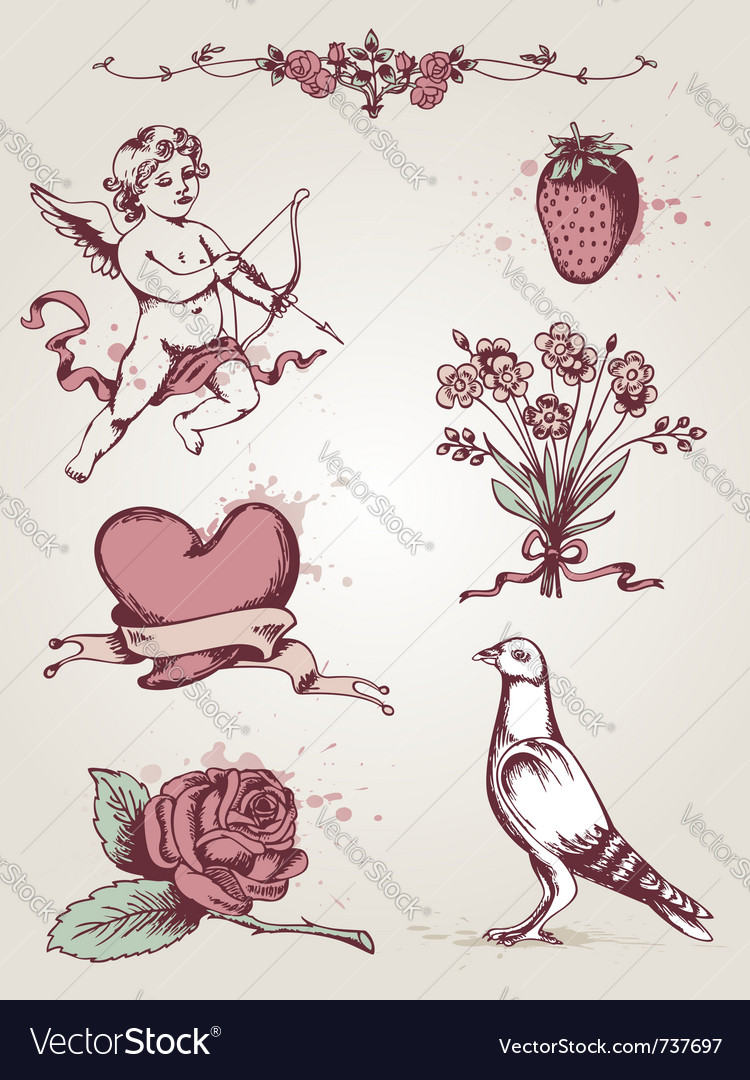 Hand drawn vintage elements for valentines day vector | Price: 1 Credit (USD $1)