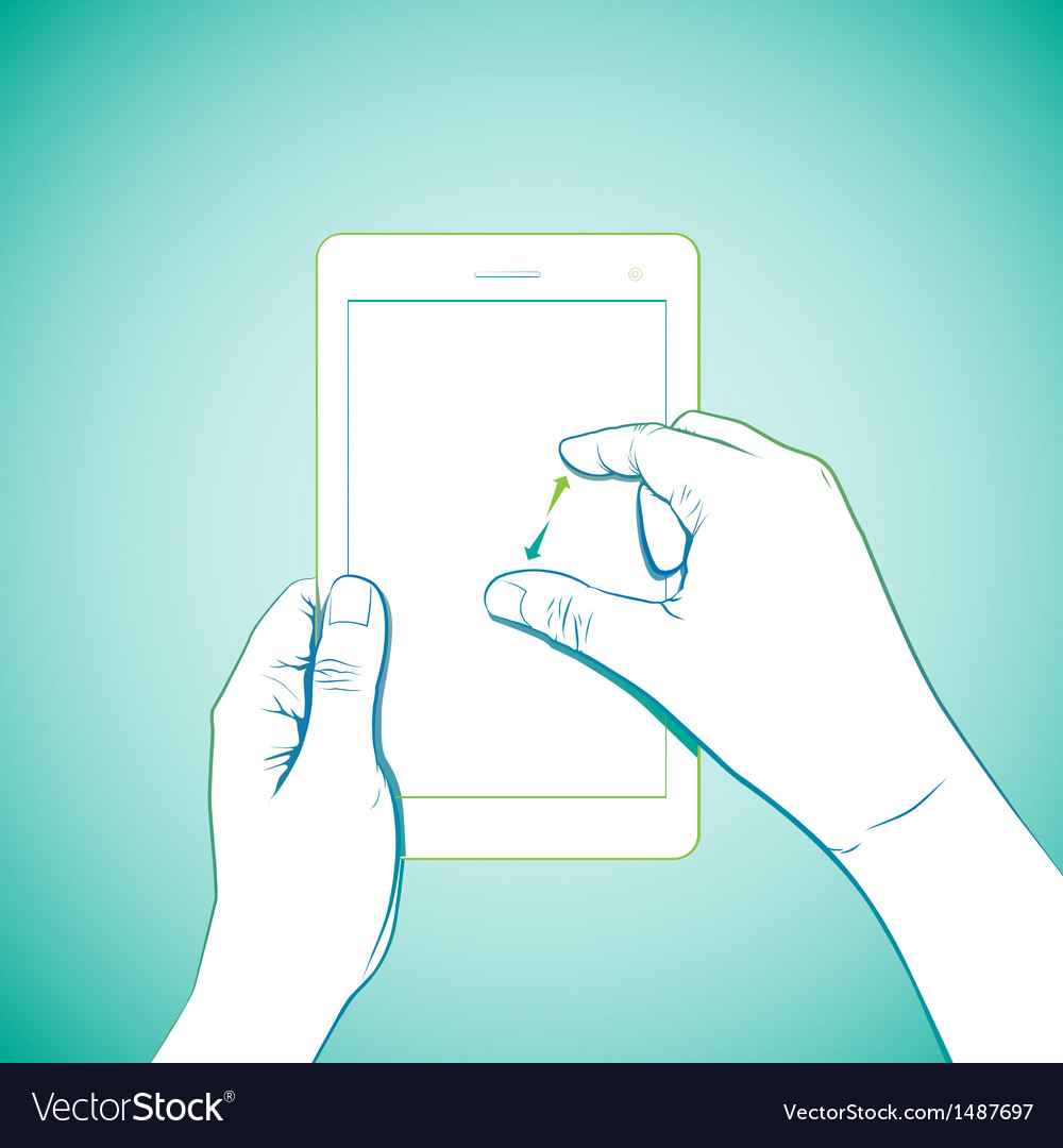 Hand pinch tablet vector | Price: 3 Credit (USD $3)