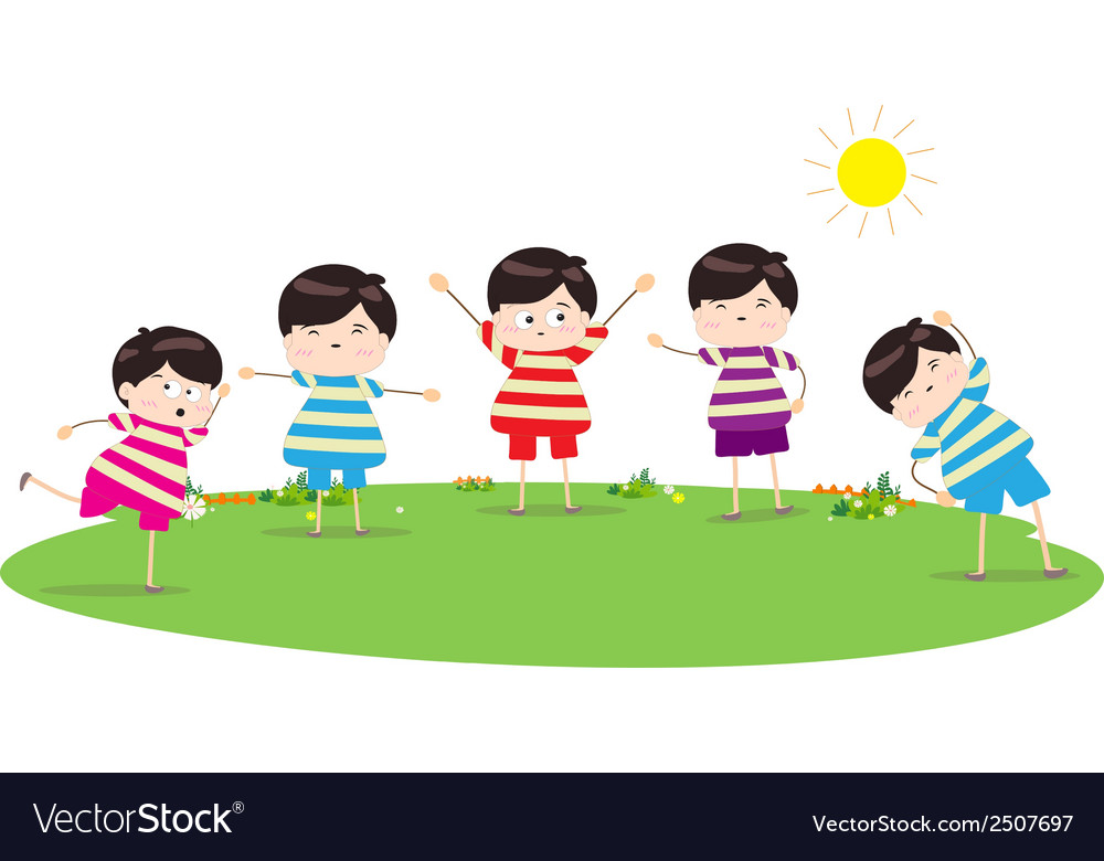 Little children doing morning exercises vector | Price: 1 Credit (USD $1)