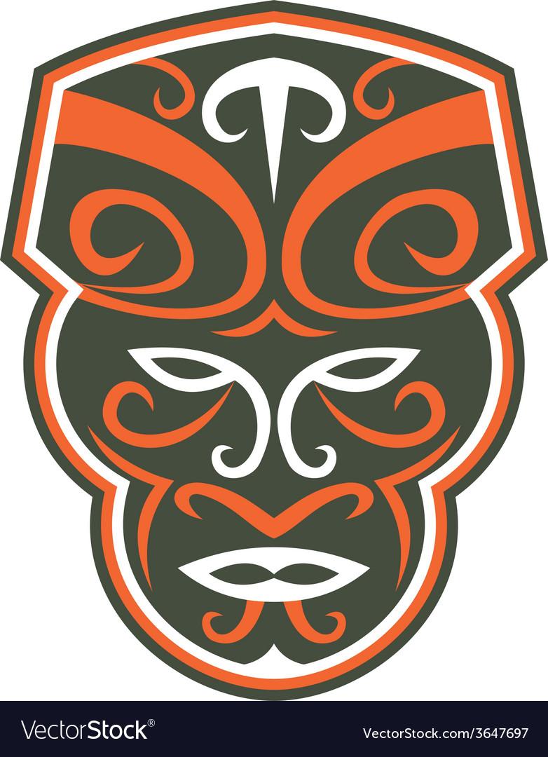 Maori mask face front retro vector | Price: 1 Credit (USD $1)