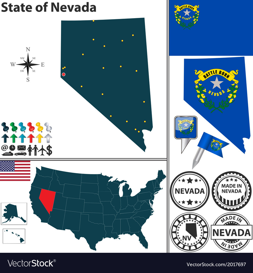 Map of nevada vector | Price: 1 Credit (USD $1)