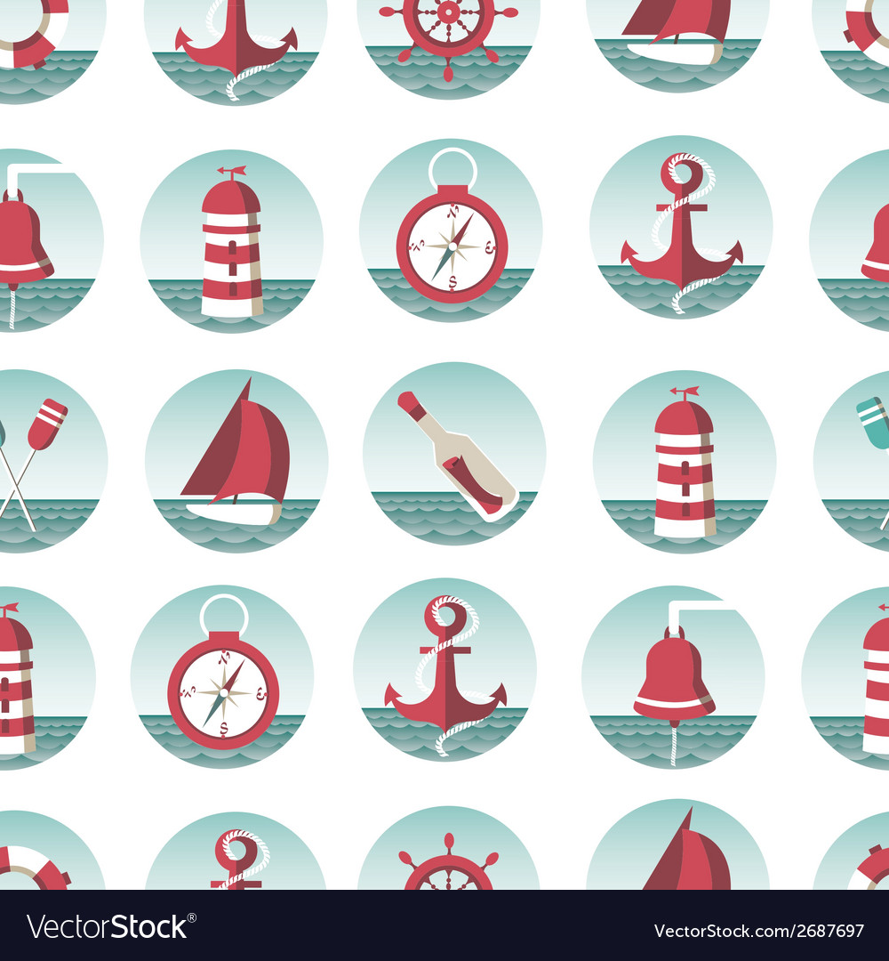 Nautical seamless pattern with sea elements vector | Price: 1 Credit (USD $1)