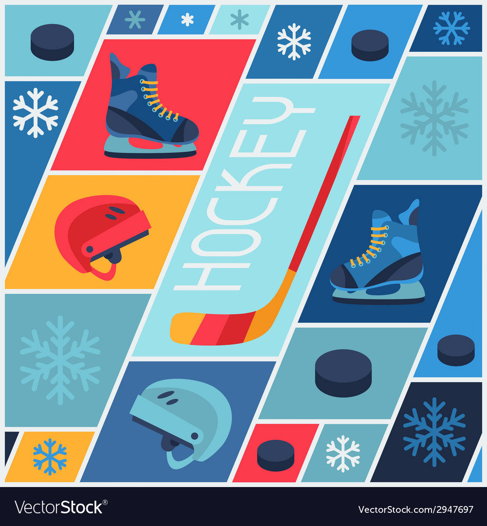 Sports background with hockey equipment flat icons vector | Price: 1 Credit (USD $1)
