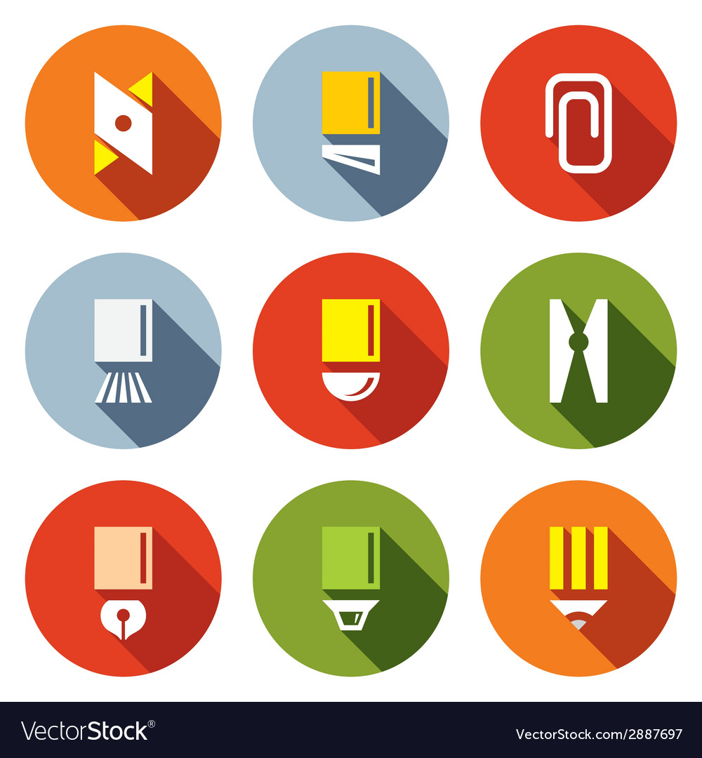 Stationery items icon set vector | Price: 1 Credit (USD $1)