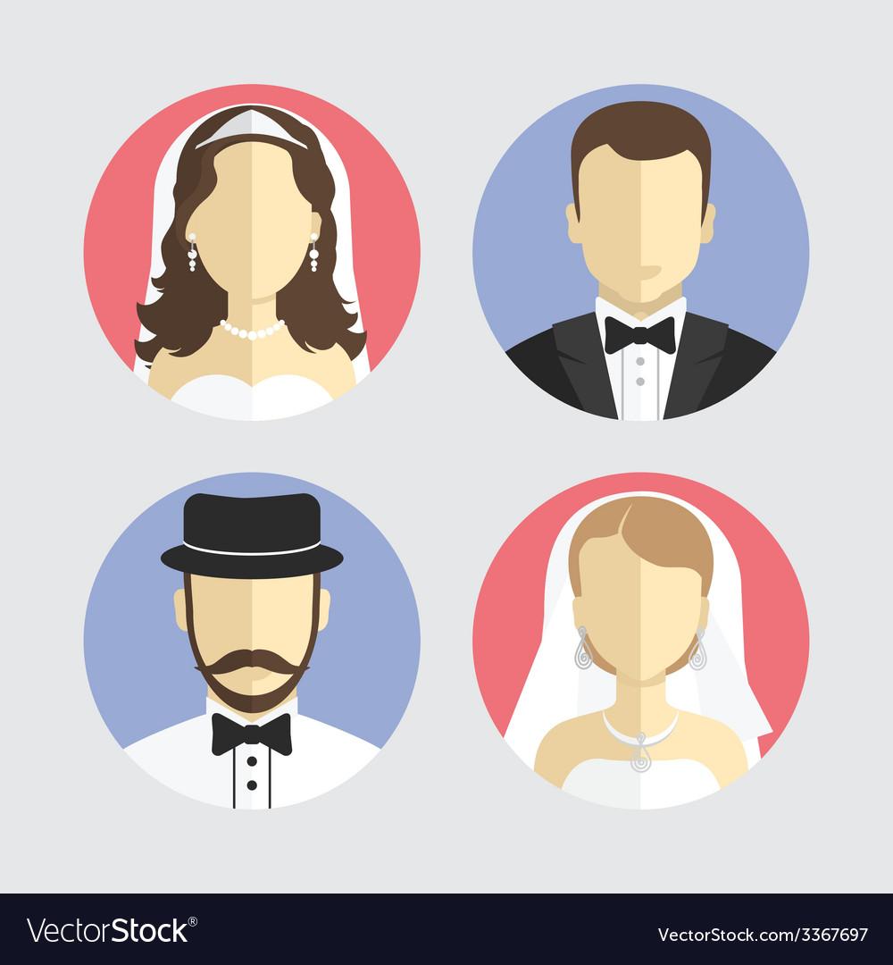 Wedding couple avatar flat design vector   Price: 1 Credit (USD $1)