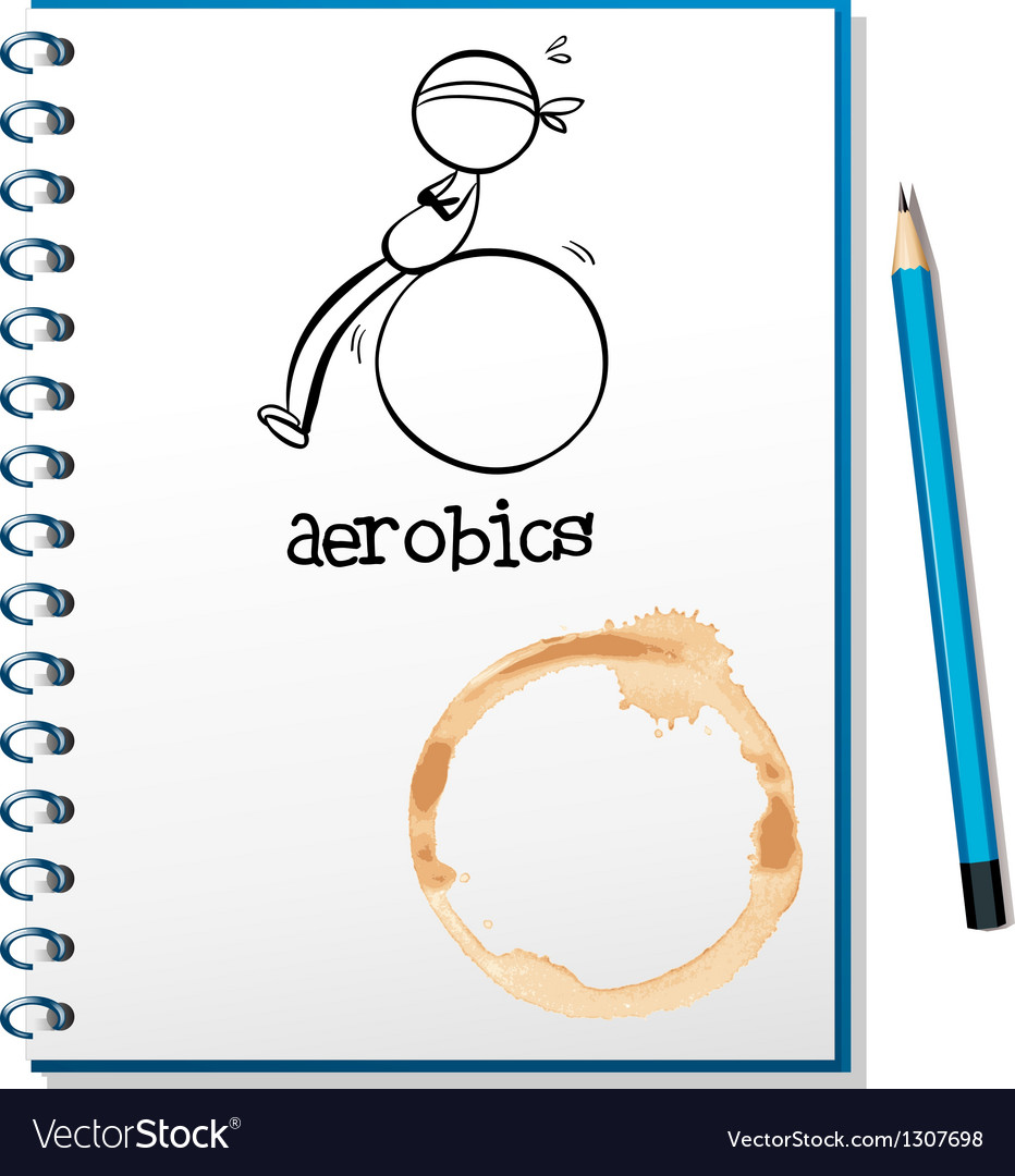 A notebook with a drawing of a boy doing aerobics vector | Price: 1 Credit (USD $1)