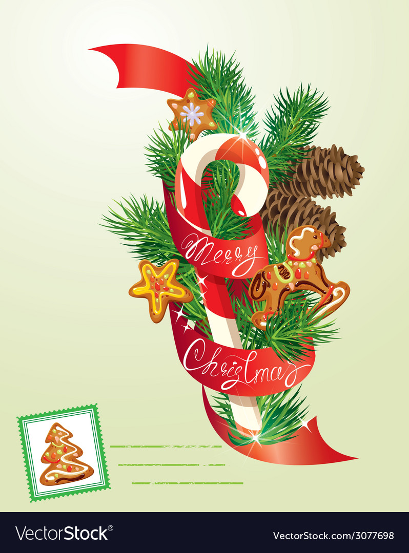 Card with xmas gingerbread candy and fir-tree bran vector | Price: 1 Credit (USD $1)