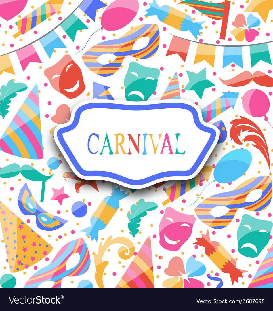Festive postcard with carnival colorful icons and vector | Price: 1 Credit (USD $1)
