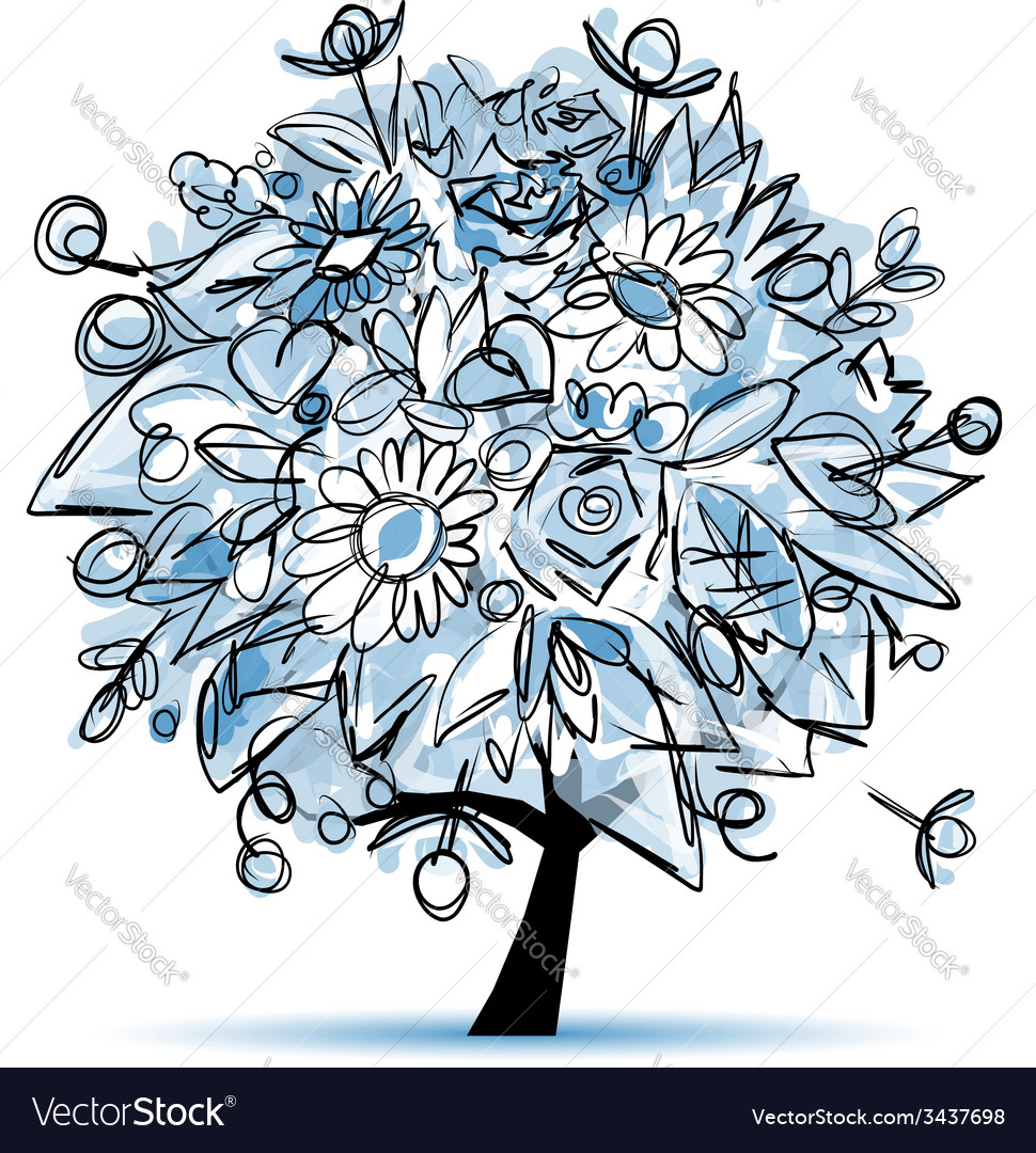 Frozen winter tree floral for your design vector | Price: 1 Credit (USD $1)
