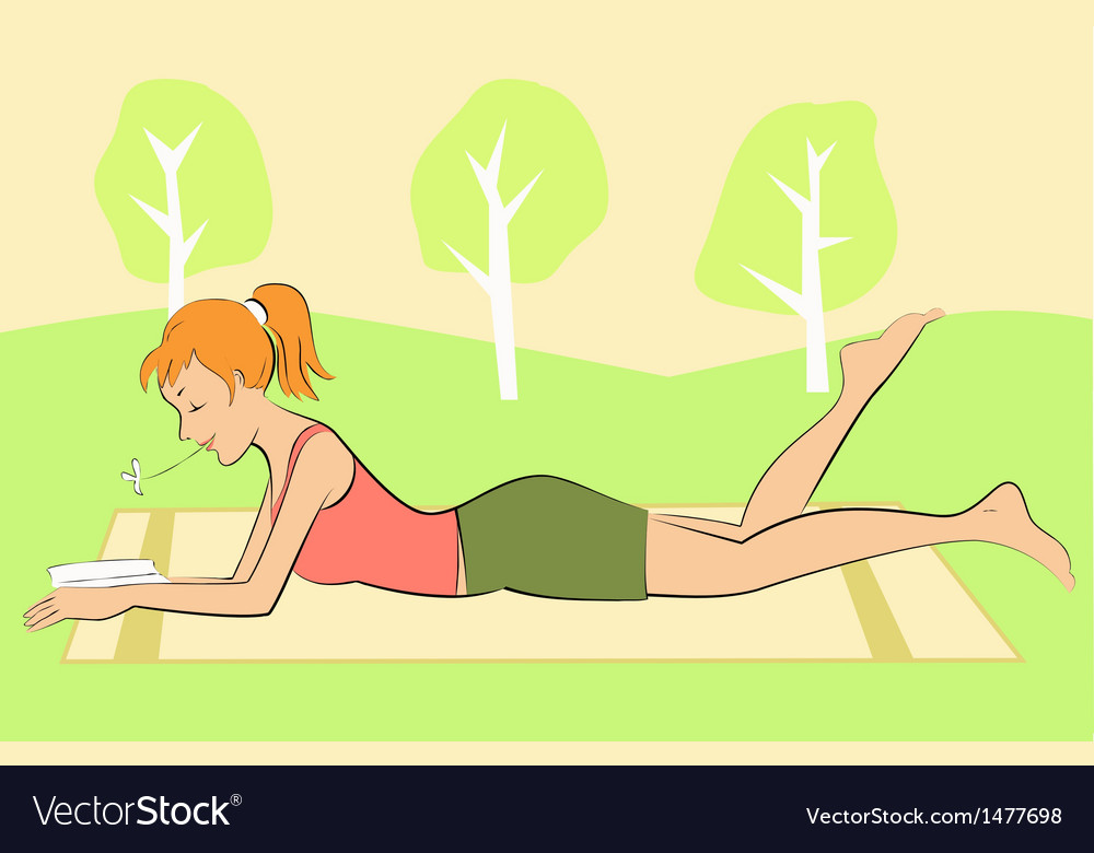 Girl reading in a park vector | Price: 1 Credit (USD $1)