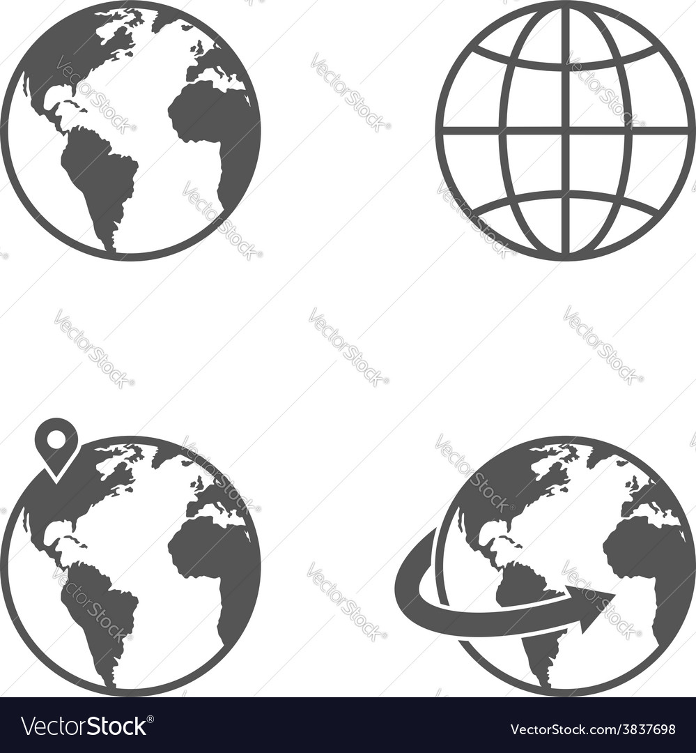 Globe earth icons set isolated on white background vector | Price: 1 Credit (USD $1)