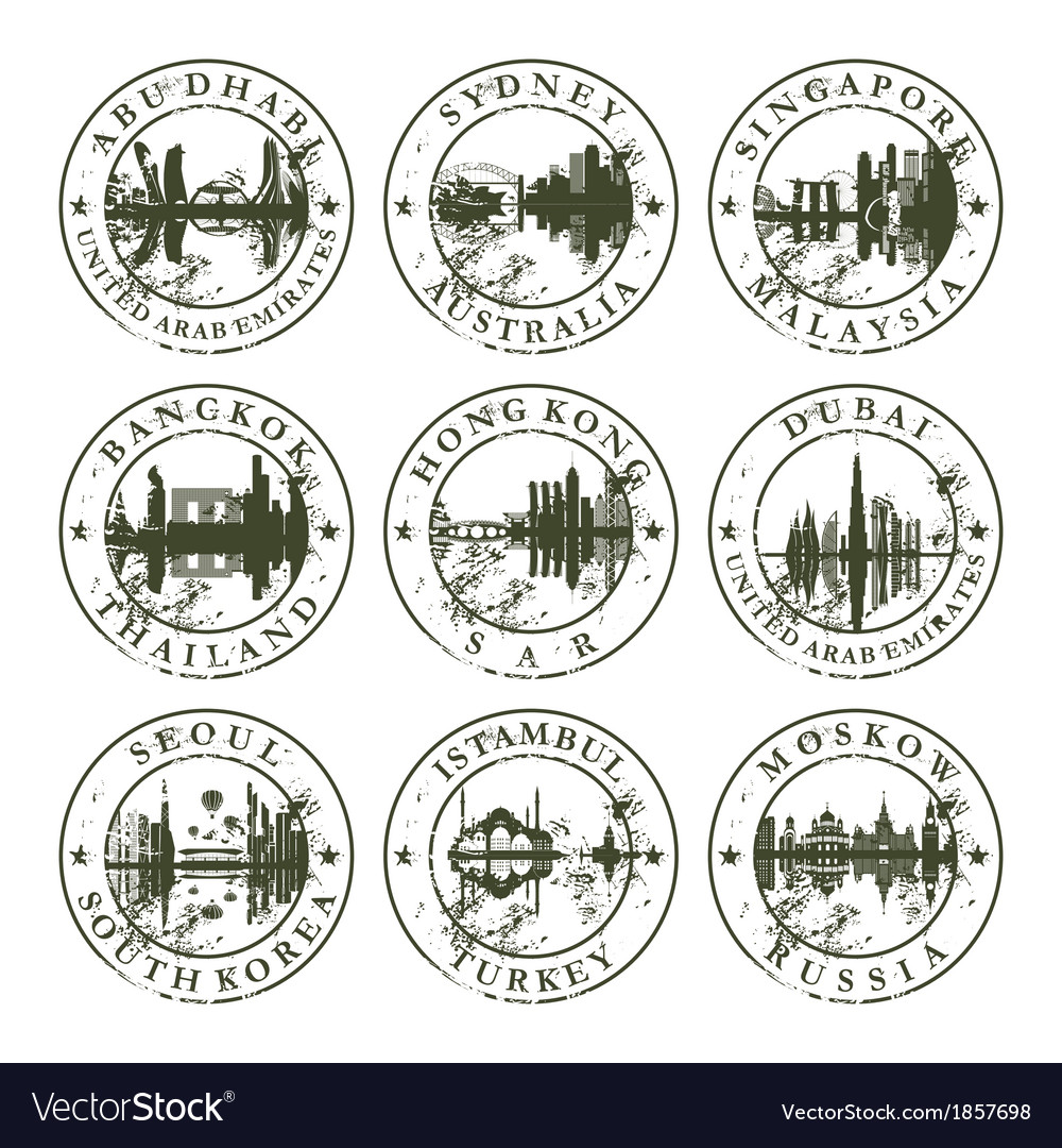 Grunge rubber stamps with abu dhabi sydney vector | Price: 1 Credit (USD $1)