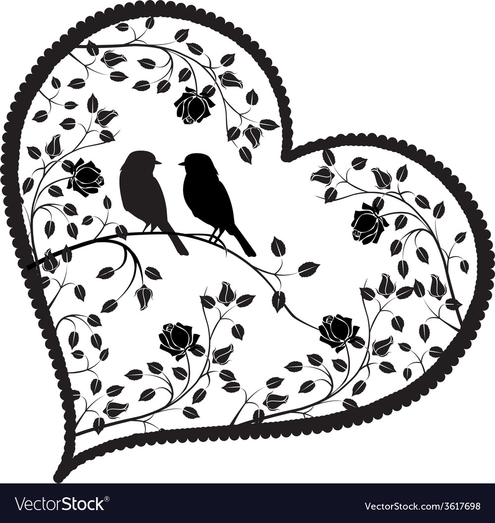 Heart with birds and flowers vector | Price: 1 Credit (USD $1)