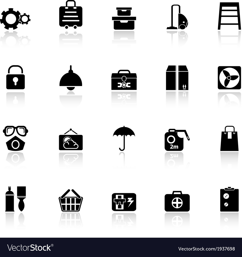 Home storage icons with reflect on white vector | Price: 1 Credit (USD $1)
