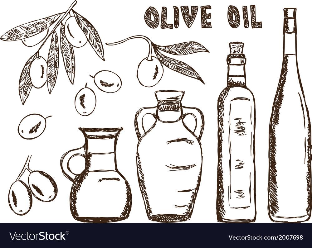 Olive oils olives doodle vector | Price: 1 Credit (USD $1)