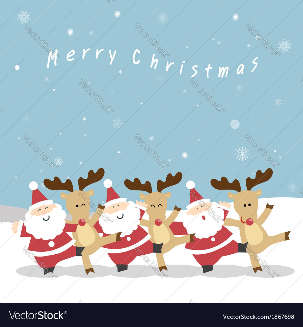 Santa and reindeer christmas vector | Price: 1 Credit (USD $1)