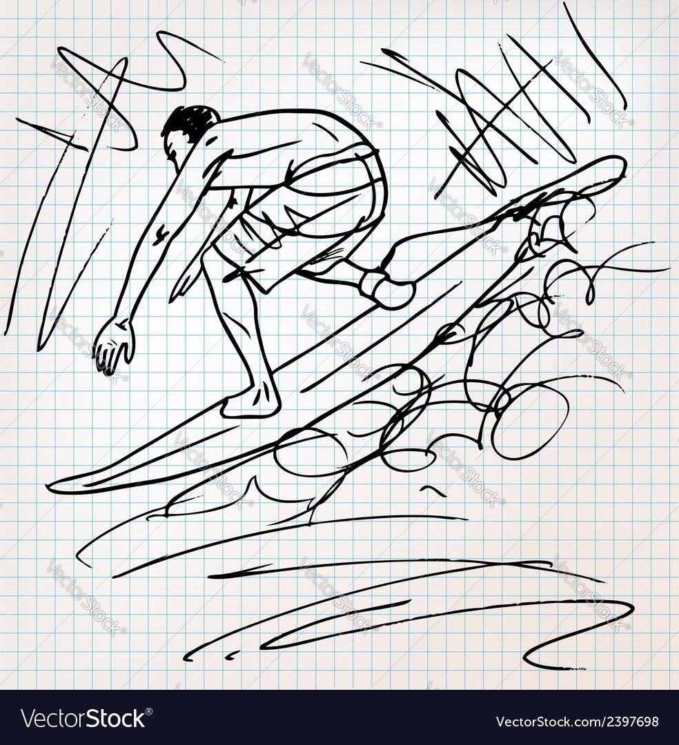 Surfing sketch vector   Price: 1 Credit (USD $1)