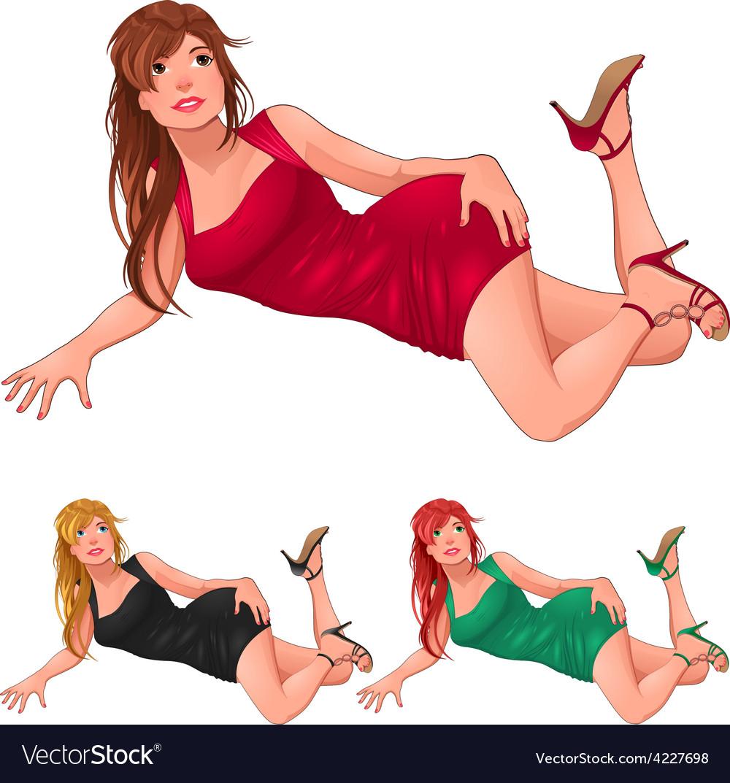 Three kind of ladies vector | Price: 3 Credit (USD $3)