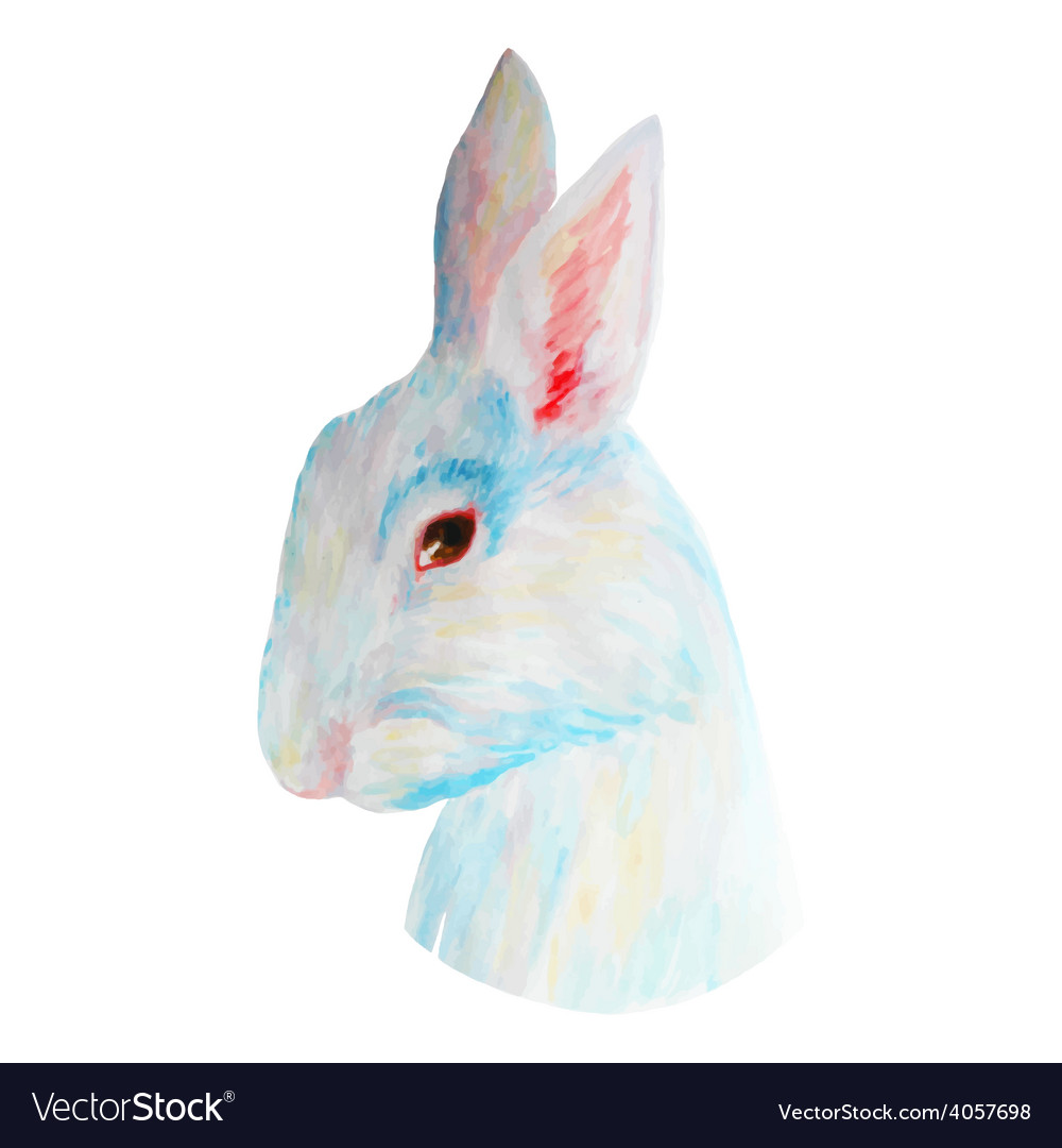 Watercolor white cute rabbit for easter hand drawn vector | Price: 1 Credit (USD $1)