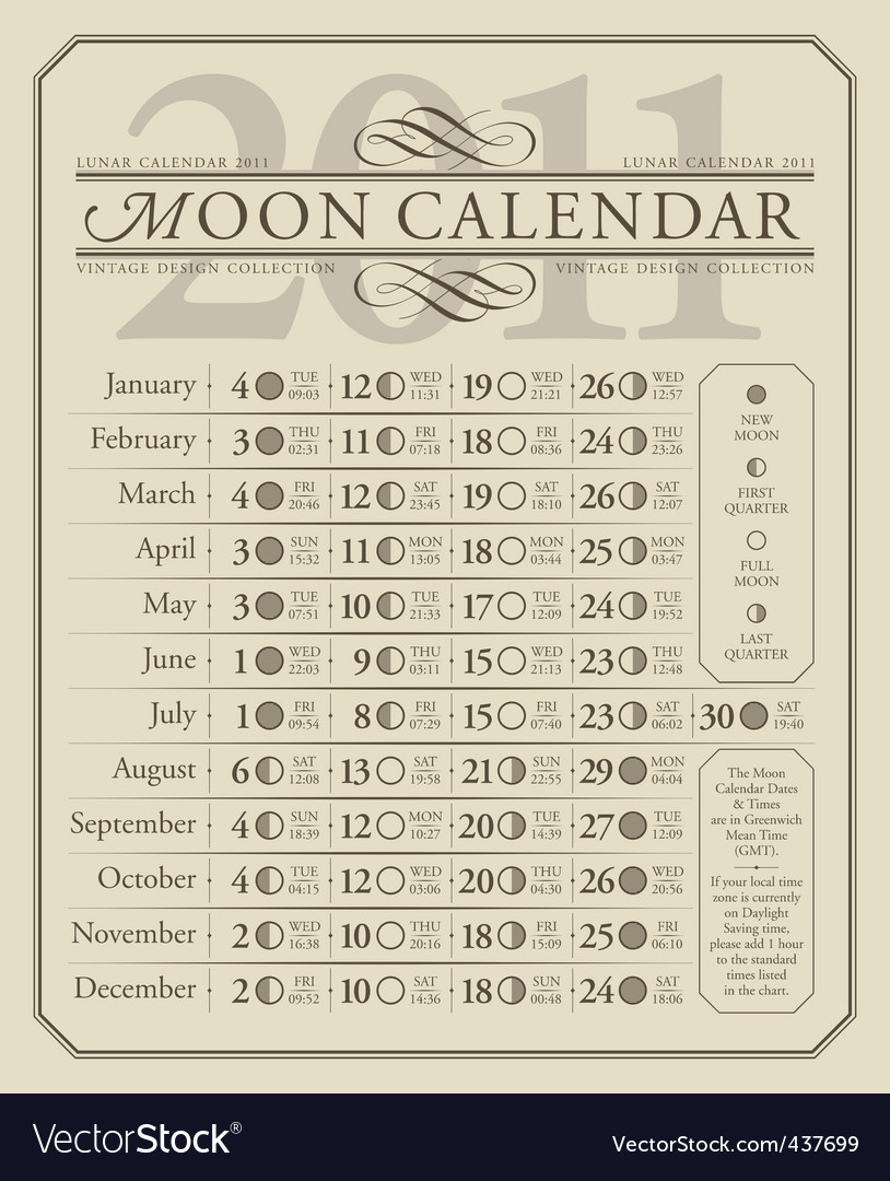 2011 lunar calendar gmt vector | Price: 1 Credit (USD $1)