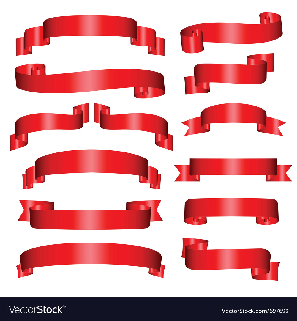 Banners set of thirteen red banners on the white vector   Price: 1 Credit (USD $1)