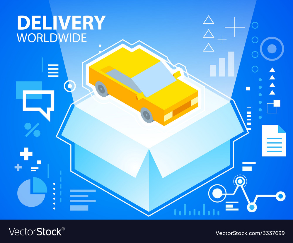 Bright delivery box and car on blue backgrou vector | Price: 3 Credit (USD $3)