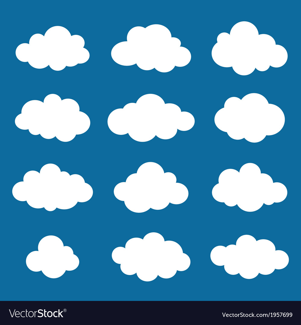 Clouds collection cloud shapes pack vector | Price: 1 Credit (USD $1)