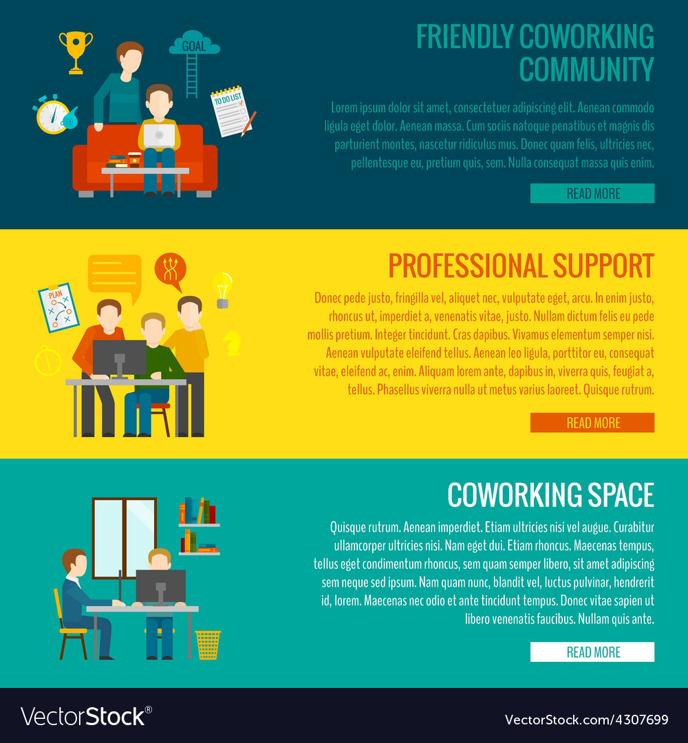 Coworking center banner vector | Price: 1 Credit (USD $1)