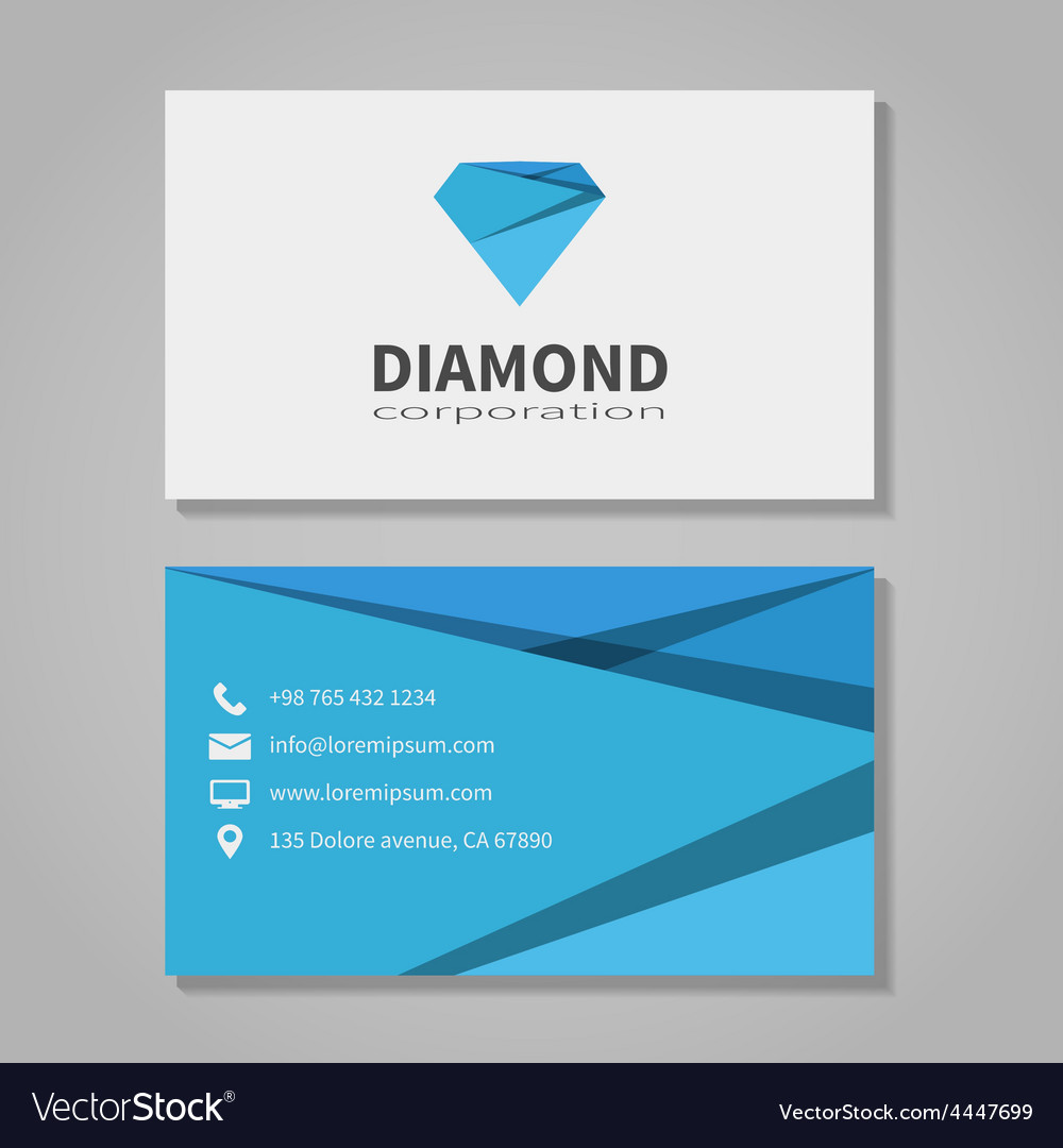 Diamond corporation business card template vector | Price: 1 Credit (USD $1)
