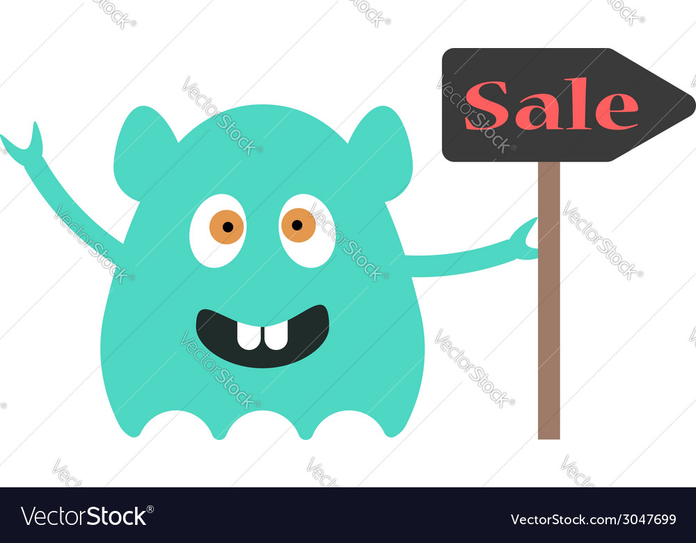 Funny monster with sale sign vector | Price: 1 Credit (USD $1)