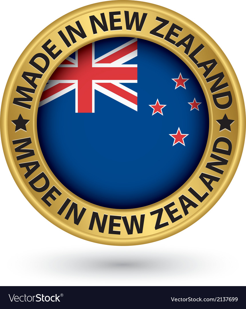 Made in new zealand gold label with flag vector | Price: 1 Credit (USD $1)