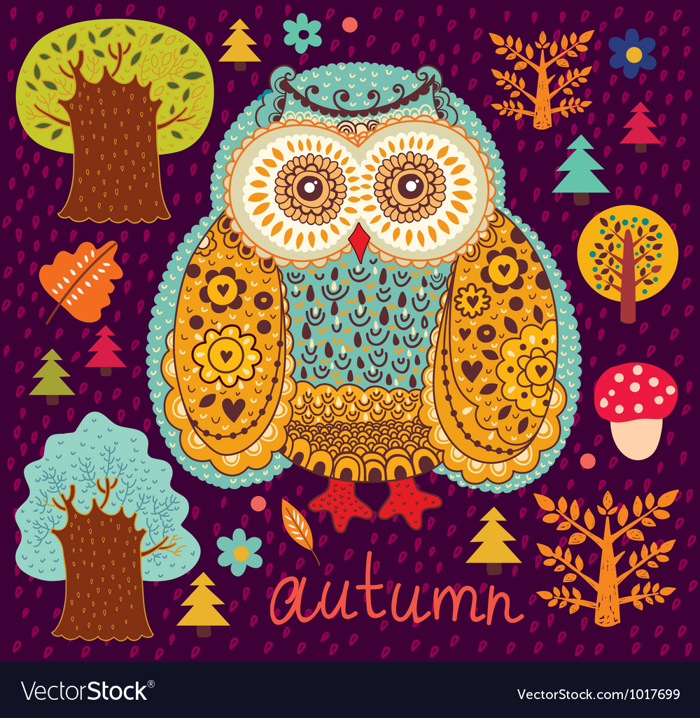 Owl forest vector | Price: 1 Credit (USD $1)