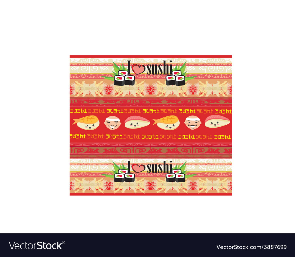 Pattern with sushi vector | Price: 1 Credit (USD $1)