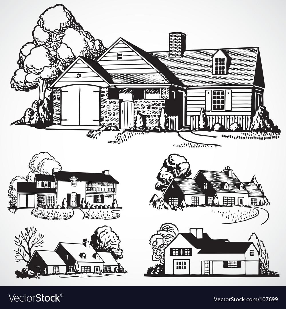 Retro real estate vector | Price: 1 Credit (USD $1)