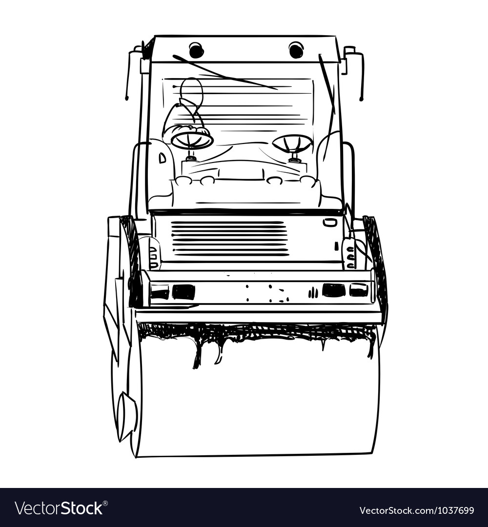 Road roller under the white background vector | Price: 1 Credit (USD $1)