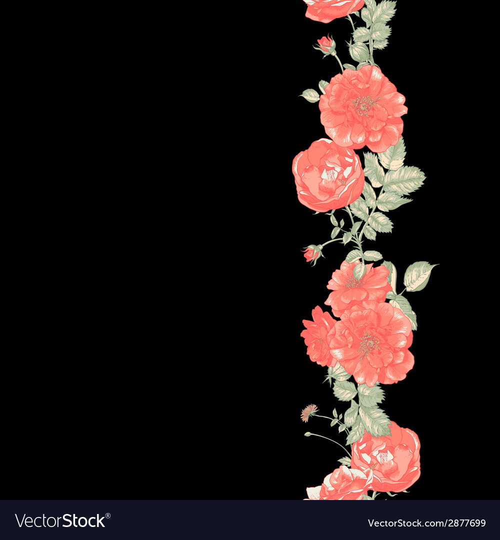 Seamless border of red roses on dark background vector | Price: 1 Credit (USD $1)