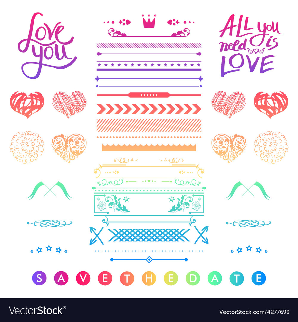 Set of romantic elements for a wedding invitation vector | Price: 1 Credit (USD $1)