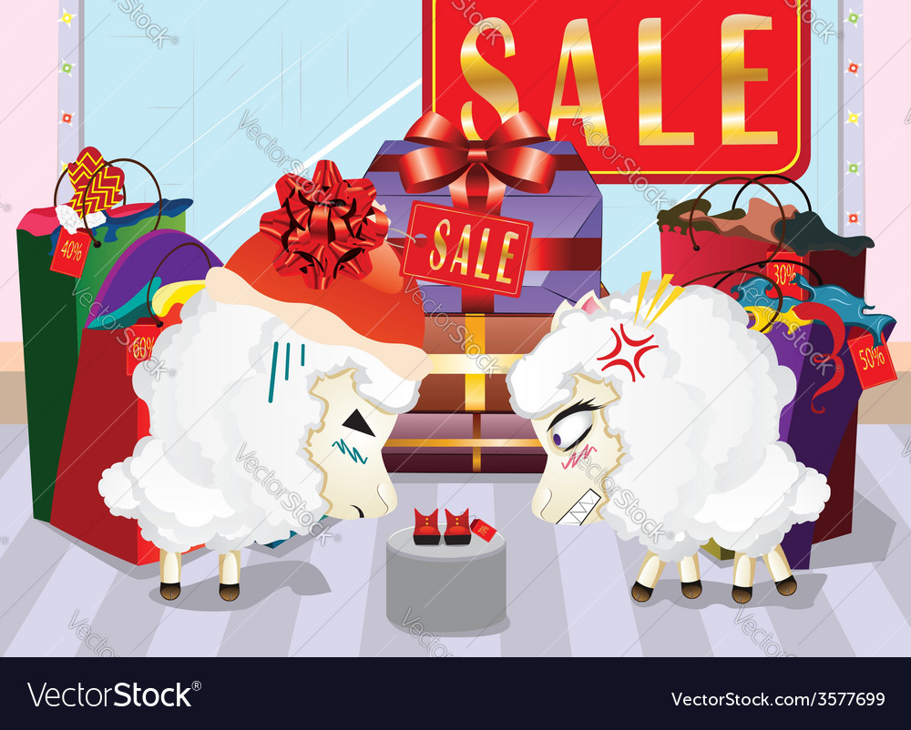 Sheeps on shopping vector | Price: 1 Credit (USD $1)
