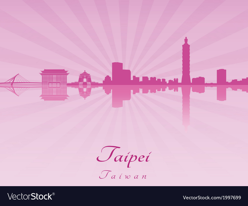 Taipei skyline in purple radiant orchid vector