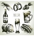 Hand drawn oktoberfest set of beer vector