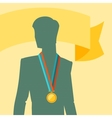 Silhouette of man with premium medal vector