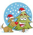 Cartoon christmas dog and tree vector