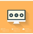Abstract musical background with flat web icons vector